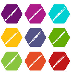 Tweezers icon set color hexahedron vector