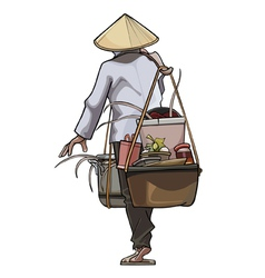 Vietnamese trader comes with pots on the beam vector