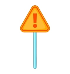 Warning sign with exclamation icon cartoon style vector