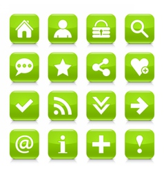 Green basic sign rounded square icon web button vector