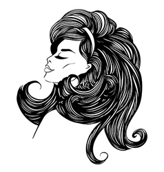 Beautiful woman with long curly hair vector