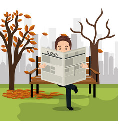 Person reading on the park vector