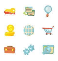 seo icons set cartoon style vector image