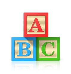 Wooden alphabet cubes with abc letters vector
