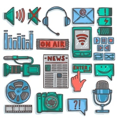 Media sketch icons set color vector