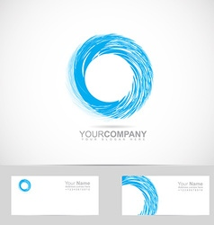 Corporate blue grunge circle logo vector