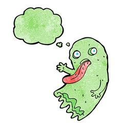 Gross cartoon ghost with thought bubble vector