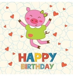 Happy birthday card with happy pig jumping vector