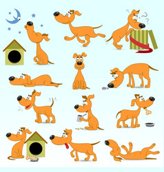 Set of funny cartoon dogs vector
