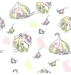 seamless pattern with garlic vector image