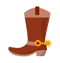 Wild west leather cowboy boot with spurs and stars vector