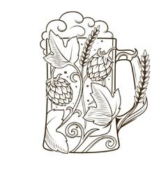 Beer mug abstract ornament vector image vector image