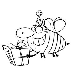 Birthday bee cartoon vector image