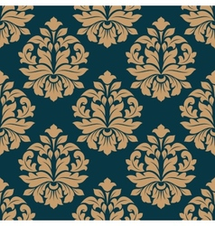 Bold heavy arabesque seamless pattern on blue vector