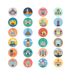 Buildings Flat Colored Icons 2 vector image vector image