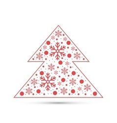 Christmas tree with snowflakes vector image vector image
