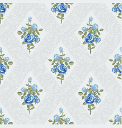 Classic wallpaper with blue roses vector