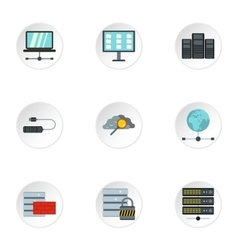 Computer icons set flat style vector