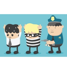 Concept business man who is friends with thieves vector image