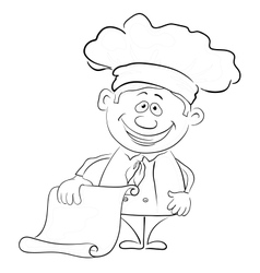 Cook with blank for your text outline vector image