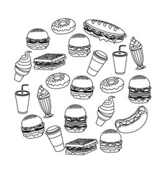 Delicious fast food with icream soda and coffee vector