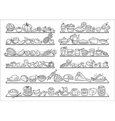 doodle food icons vector image