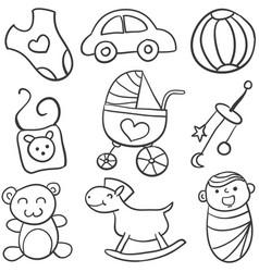 Doodle of baby set vector