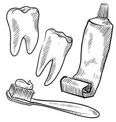 doodle teeth toothbrush toothpaste dental vector image