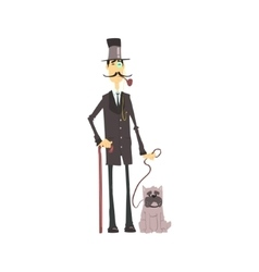 English gentleman with bulldog vector