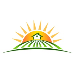 Farm house with sun logo vector