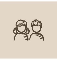 Girl and boy sketch icon vector image