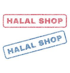 Halal shop textile stamps vector