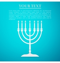 Hanukkah menorah flat icon on blue background vector image