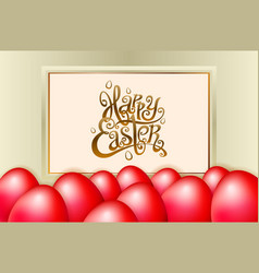 happy easter lettering modern calligraphy red egg vector image