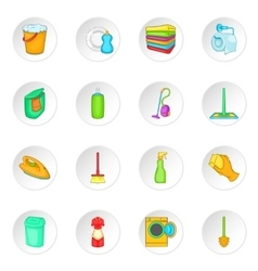 Household elements icons set cartoon style vector