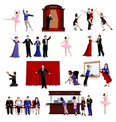 Images set of theater people vector