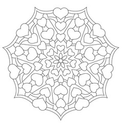 mandala with hearts for coloring book vector image vector image