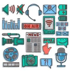 Media sketch icons set color vector image vector image