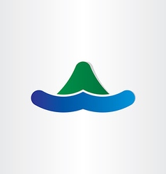 Mountain and water island symbol vector