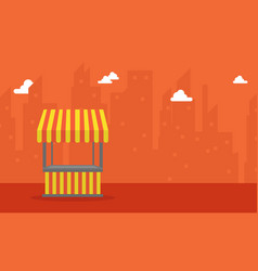 On orange background with street stall vector
