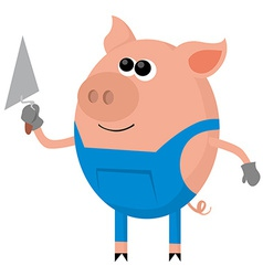 Pig as the bricklayer vector