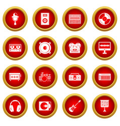 Recording studio items icon red circle set vector