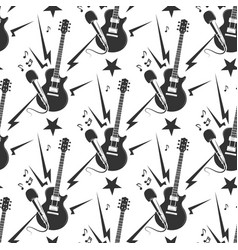 Rock music seamless pattern with guitars and vector