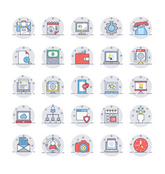 seo and marketing colored line icons 1 vector image vector image