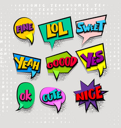 set cartoon comic text colored cloud vector image vector image