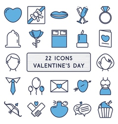 Set of 22 icons in style monoline for happy vector