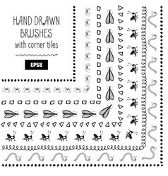 set of doodle decorative brushes hand drawn ink vector image
