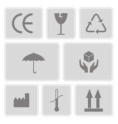 set of monochrome icons with packaging symbols vector image