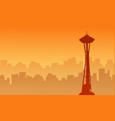 Silhouette of seattle space needle tower scenery vector