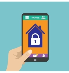 Smartphone in hand smart house or security at vector image vector image